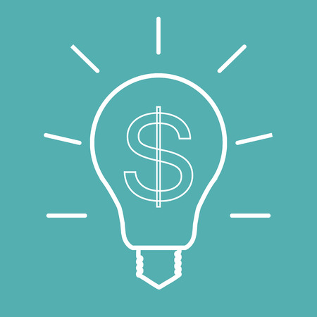 Light bulb with dollar symbol business concept.