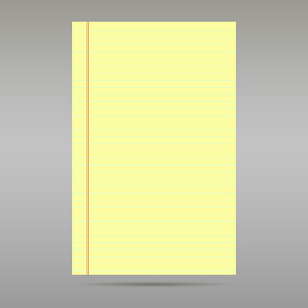 Sheet of ordinary yellow ruled exercise paper on gray background
