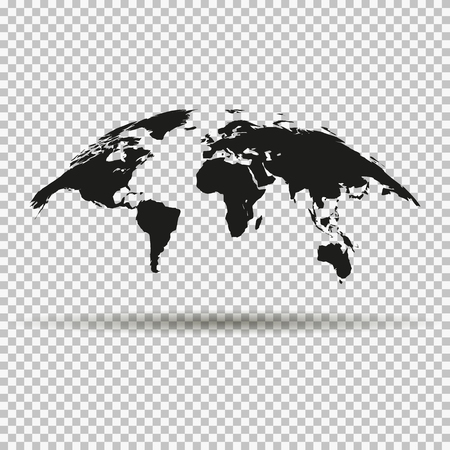 Fashionable curved map of the world in black