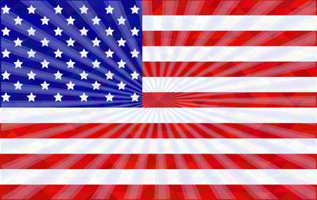 patriotic usa: American flag with rays