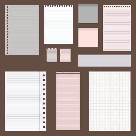 papel de notas: cavar vintage conjunto de diseños de papel. hojas de papel, papel rayado y papel de nota