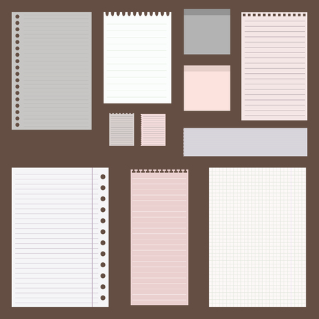 paper  clip: dig vintage set of paper designs. paper sheets, lined paper and note paper