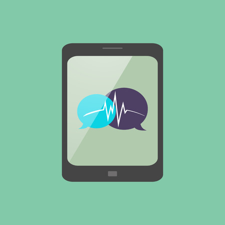 voicemail: stylish tablet with a chat icon Illustration