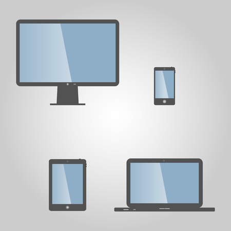 laptop mobile: Set of realistic display, laptop, tablet computer and mobile phone template with blue screen