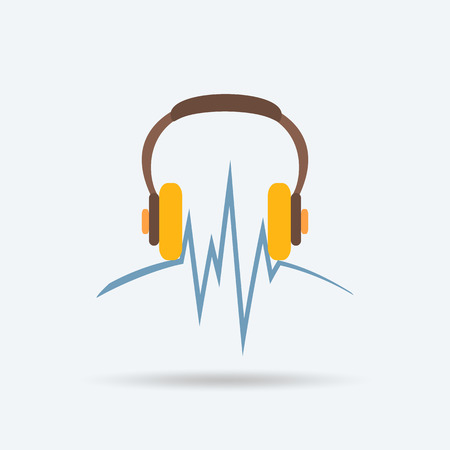 logo music: logo to listen to music through headphones Illustration