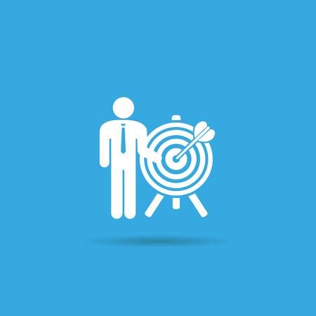 GOALS: un hombre y un icono de objetivo. el logro de la meta. empleados de búsqueda