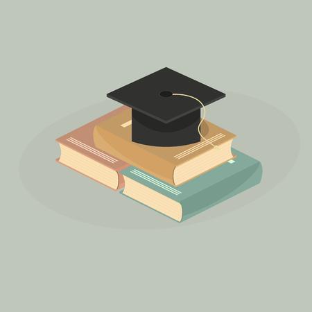 Student hat on books. perspective view. isometrics.