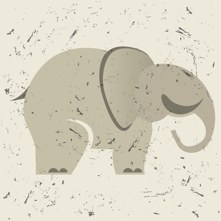 cartoon animal: stylish figure of elephant on the old background. logo