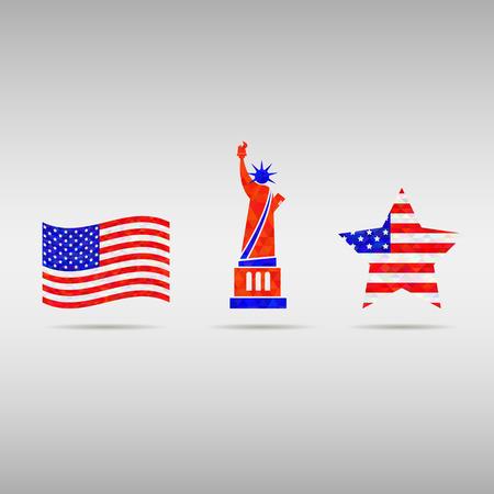 signo pesos: EE.UU. D�a de la Independencia elementos de plantilla de dise�o. Signos americano fiesta nacional. bandera, libertad Patriot Concepto