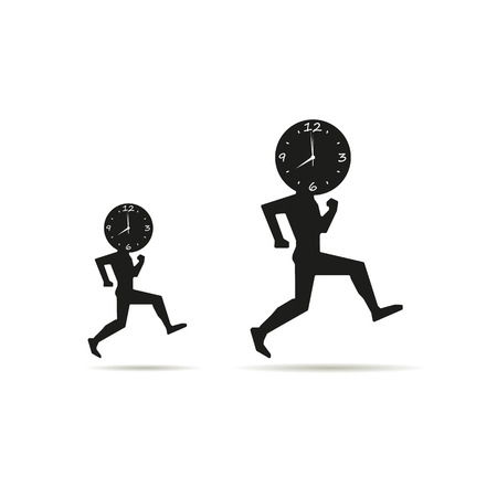 running out of time: time is running out with their feet. Illustration