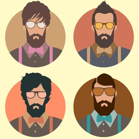 conjunto de moda hombre inconformista con la barba, el bigote y las gafas de sol