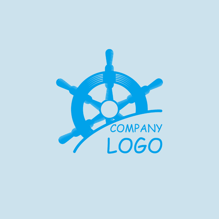 timon de barco: rueda de timón marina con texto de ejemplo. logo de la compañía