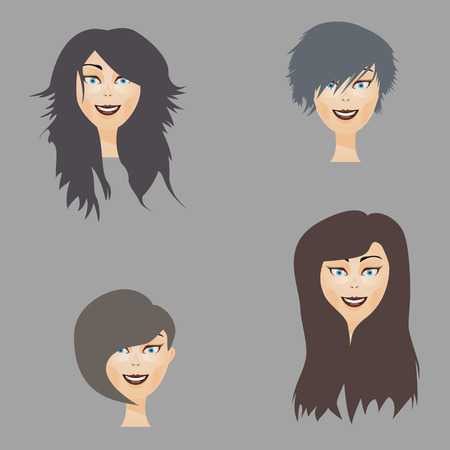 fashionably: Set of female hairstyles
