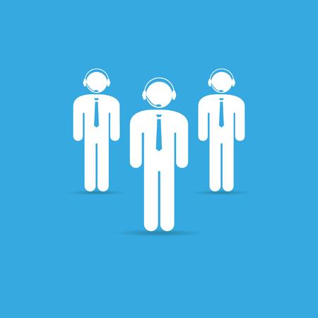 costumer: Team service,human resource design on blue background. online help