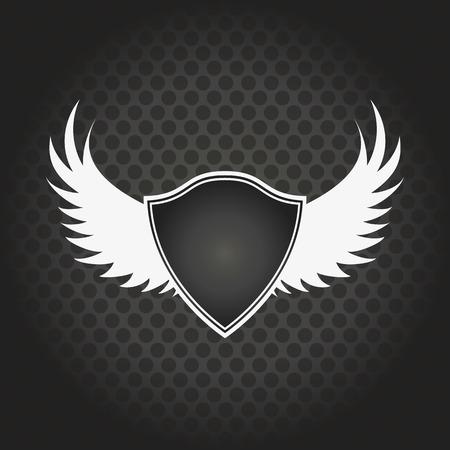 escudo: elegante escudo negro con alas sobre un fondo negro Vectores