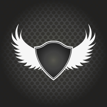 black wings: stylish black shield with wings on a black background