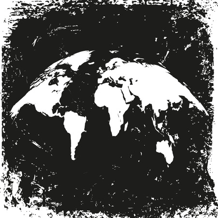 ancient map: ancient map of the world, bent. black vintage background