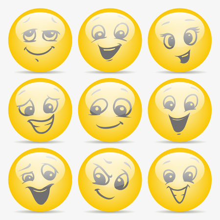 set of smiley faces expressing different feelings Illustration