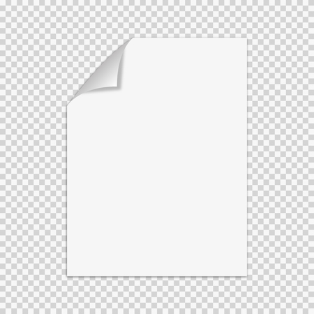 white sheet: White sheet of paper.Realistic Illustration