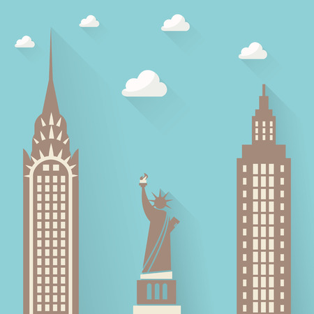 empire state building: Statue of Liberty on the background of the city skyscrapers. clouds Illustration