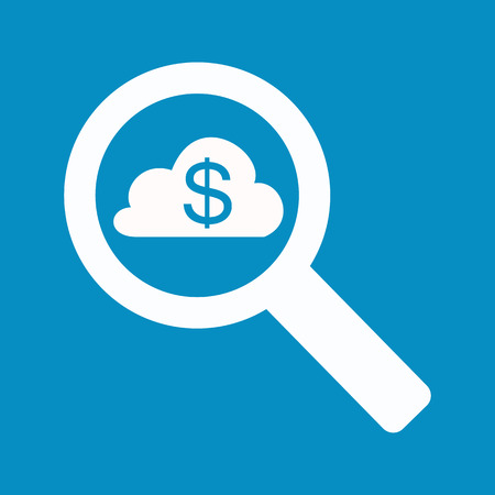 cloud search: Magnifying Glass with the dollar and the cloud. search sponsor, mentor Illustration