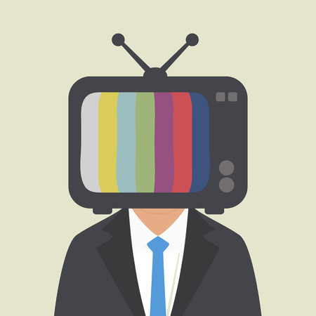 television: TV on the head of a man