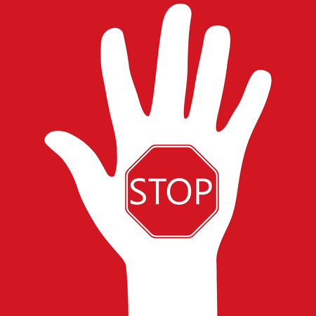 hand with a prohibition sign stop