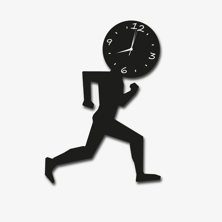 runs: Businessman concept. man clock runs