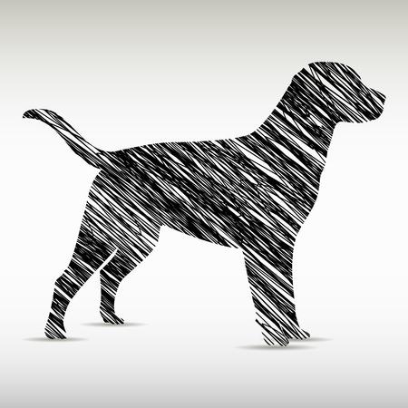 양식에 일치시키는 강아지 로고 디자인. 예술 동물 실루엣