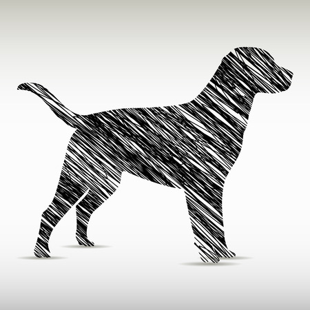 labrador puppy: Stylized dog logo design. Artistic animal silhouette