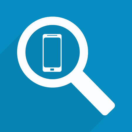 blue glass: phone into a magnifying glass
