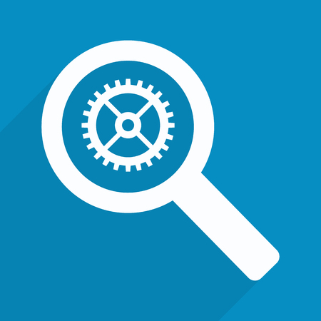 business analysis: Business Analysis symbol with magnifying glass icon and gear.