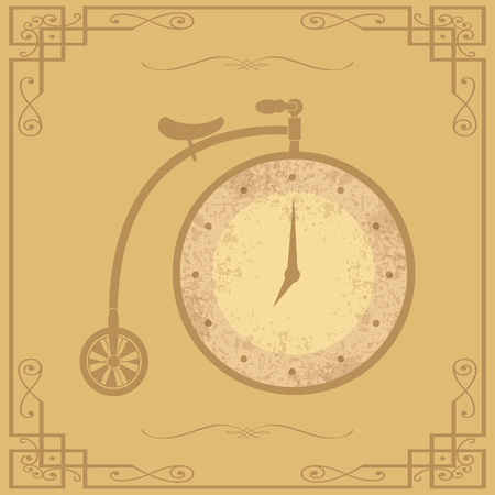 midnight time: vintage clock in the wheel of an old bicycle