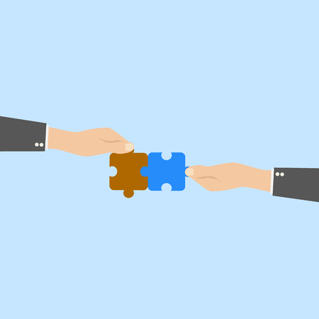 thinking link: Hands and puzzle. Business concept. Illustration