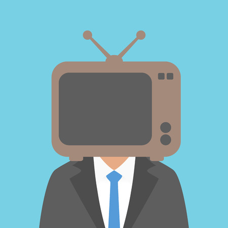 man head: a man in a suit with a TV on his head