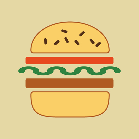 sesame seeds: minimalist food icon. Sandwich with tomatoes, lettuce, sesame seeds, cucumbers. Toast in a flat style, office snack. Illustration