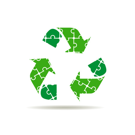 recycle symbol: Recycle symbol or sign of conservation green icon. puzzle icon