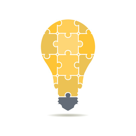 icon bulbs of puzzles Vectores