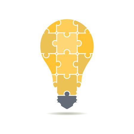 icon bulbs of puzzles Stock Illustratie