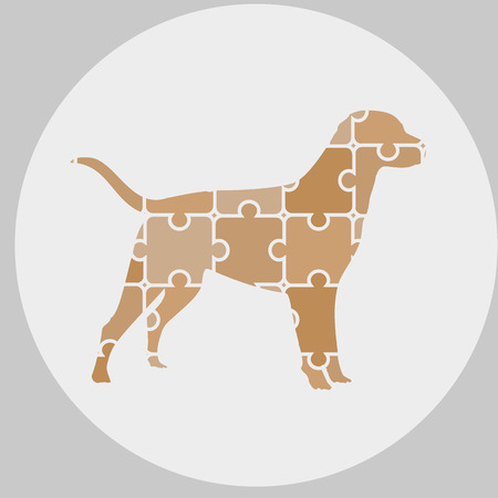 wagging: icon dog of puzzles Illustration