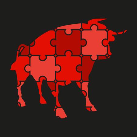corrida: bull icon of puzzles Illustration