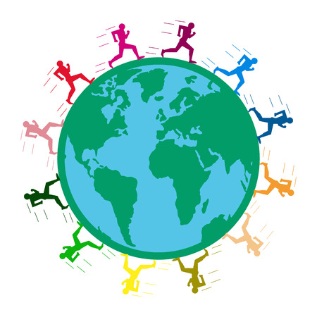 large long-distance marathon. colored men