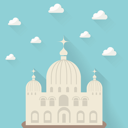 steeple: beautiful church against the sky with clouds Illustration