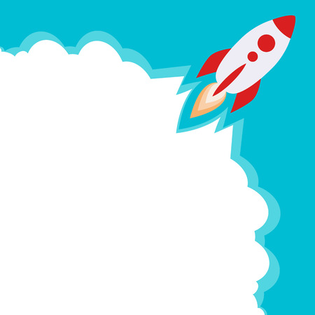 science text: rocket and clouds. Start a new project