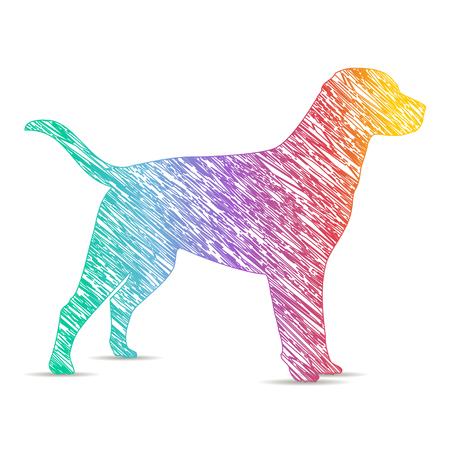 painted dog: dog painted rainbow colors. icon Illustration