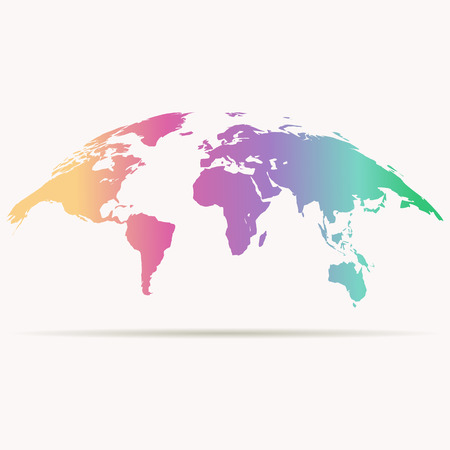 curved world map in rainbow colors Illustration