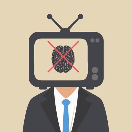 TV kijken naar de menselijke hersenen om dom te worden Stock Illustratie