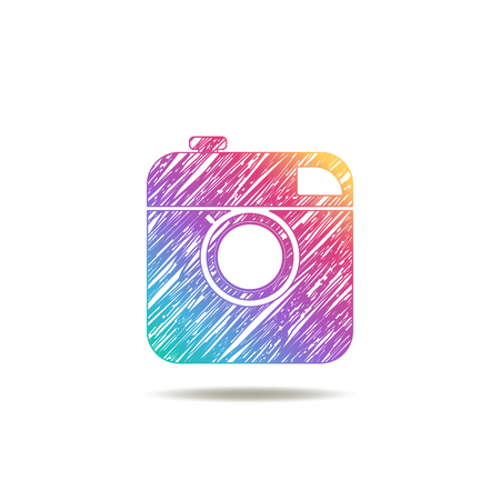 digital photo camera: vintage camera painted colors of the rainbow. logo