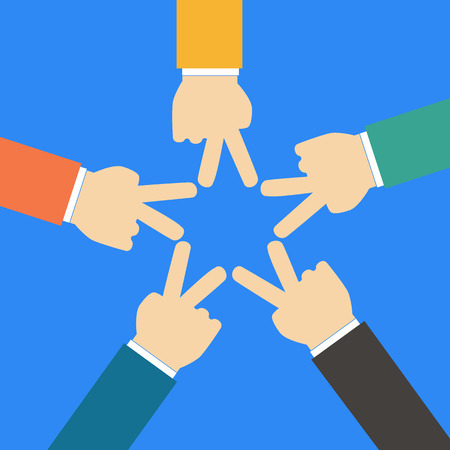 business support: People forming star shape with their fingers Illustration