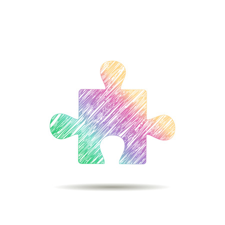 Puzzle logo painted in the colors of the rainbow